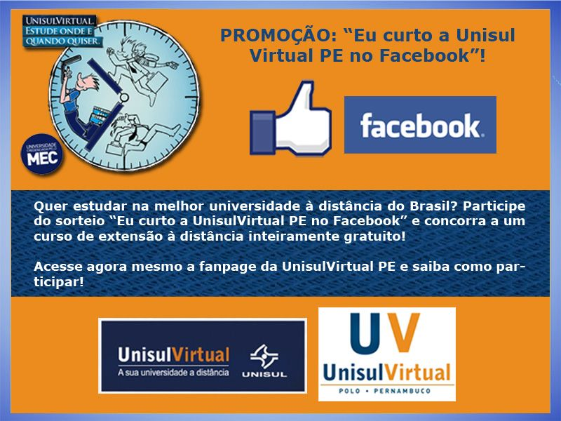 Arte para promoção no Facebook - cliente: UnisulVirtual PE