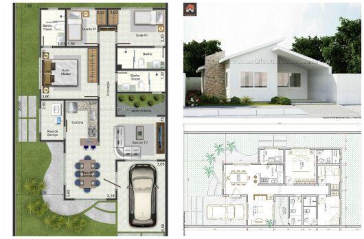 14++ Plantas de casas com 3 quartos 3d ideas