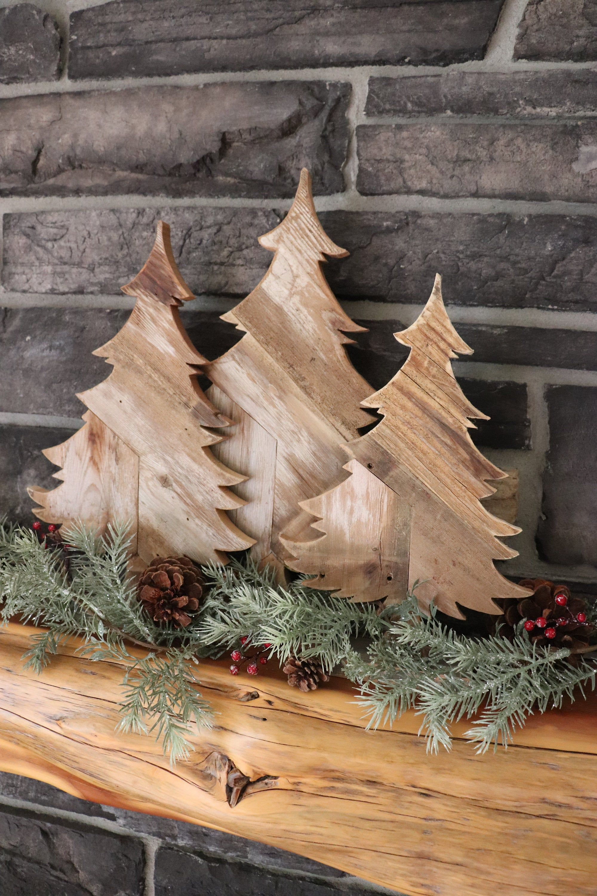 Rustic Pine Tree made from Barn Wood/Weathered Reclaimed, Multi Sizes, Mounted on Stand, Tabletop, Mantel, Book Shelf