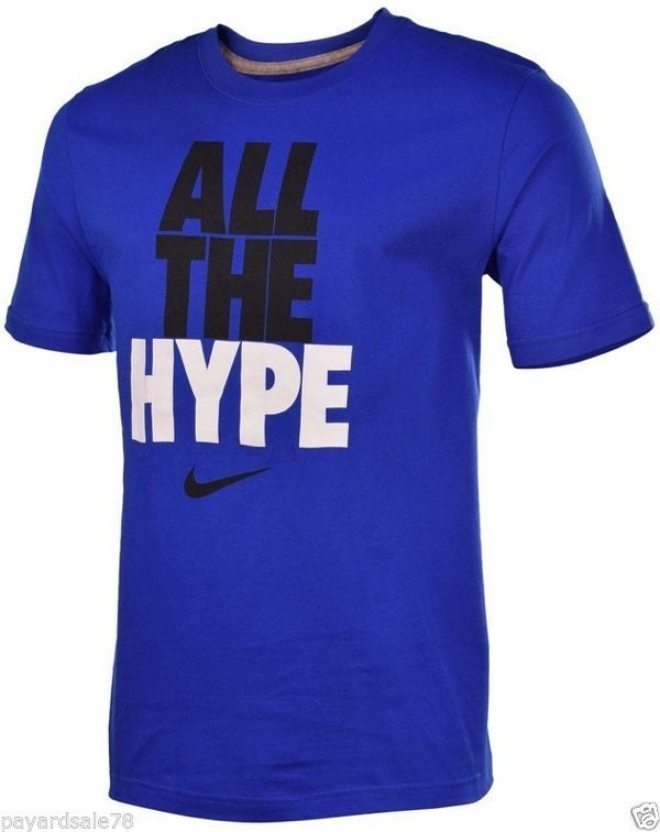 0d1125ea MEN'S SIZE MEDIUM NIKE ALL THE HYPE T-SHIRT BLUE BLACK SWOOSH BASEBALL  FOOTBALL #Nike #GraphicTee
