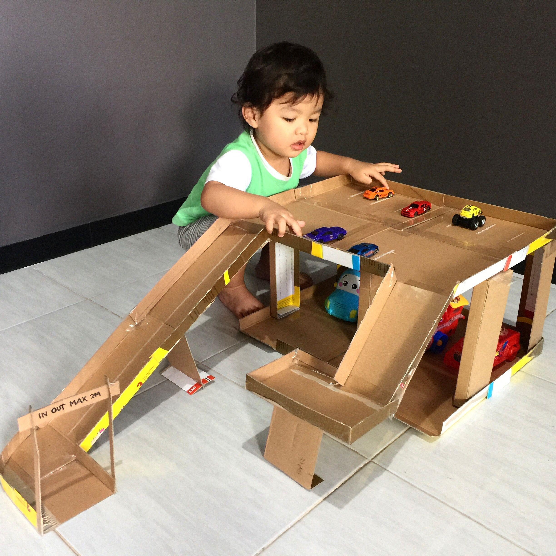 Diy Mainan Kardus Bekas Parkir Mobil Mainan Balita Mainan Anak Mainan Bayi