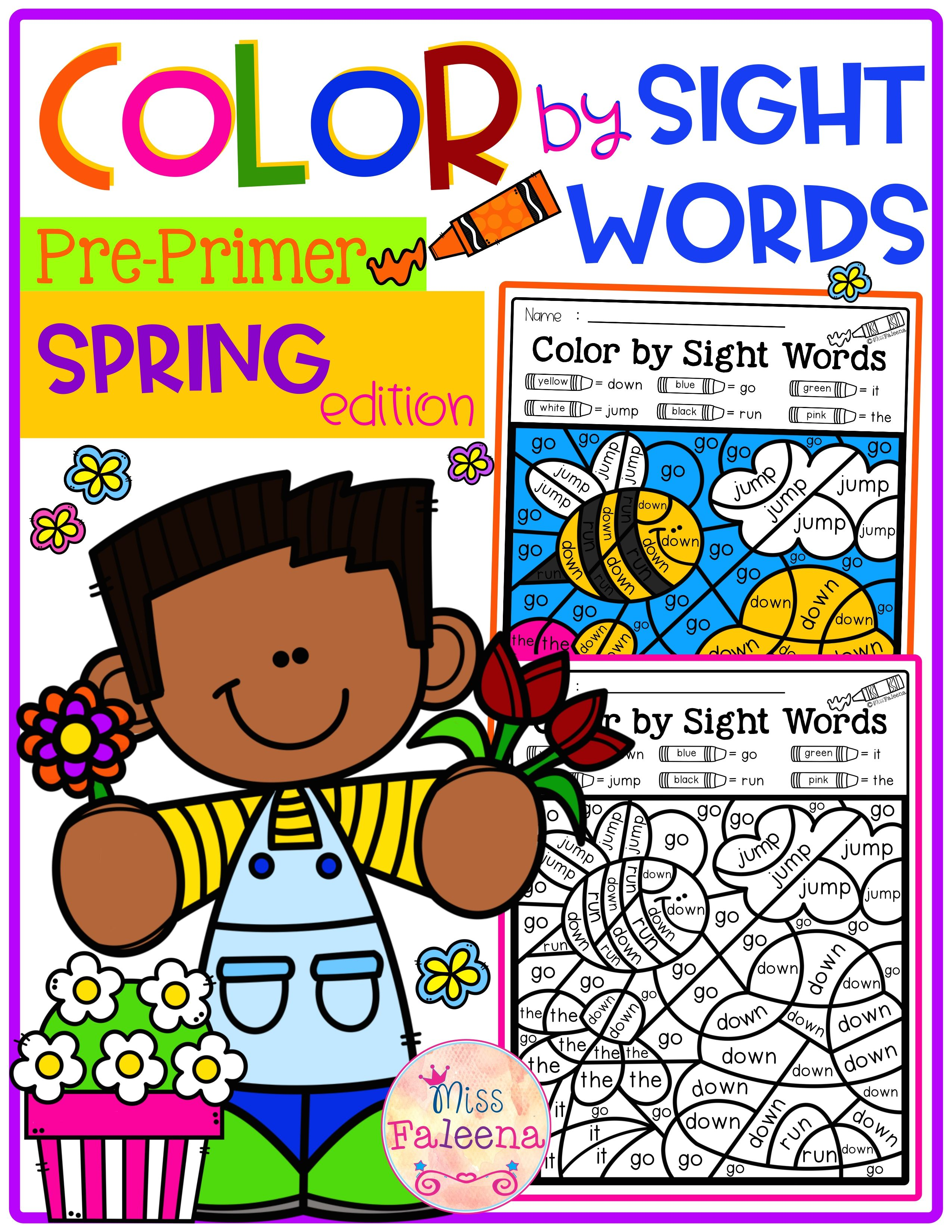 Spring Color By Code Sight Words Pre Primer