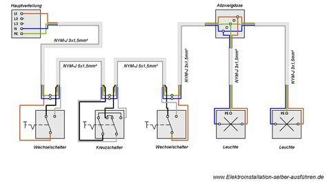Schaltplan einer Kreuzschaltung mit zwei Lampen | Häuschen ...