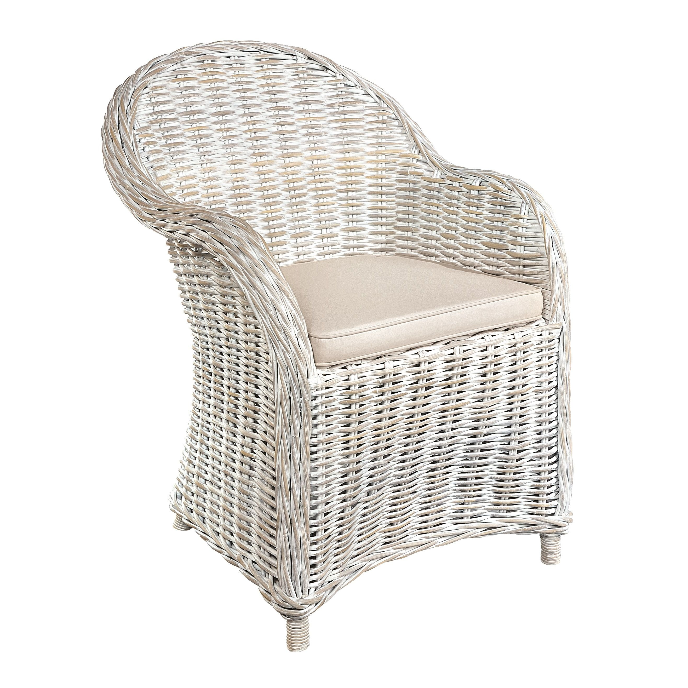 Furniture Country White Arm Chair Rattan Chair. Riley Blue