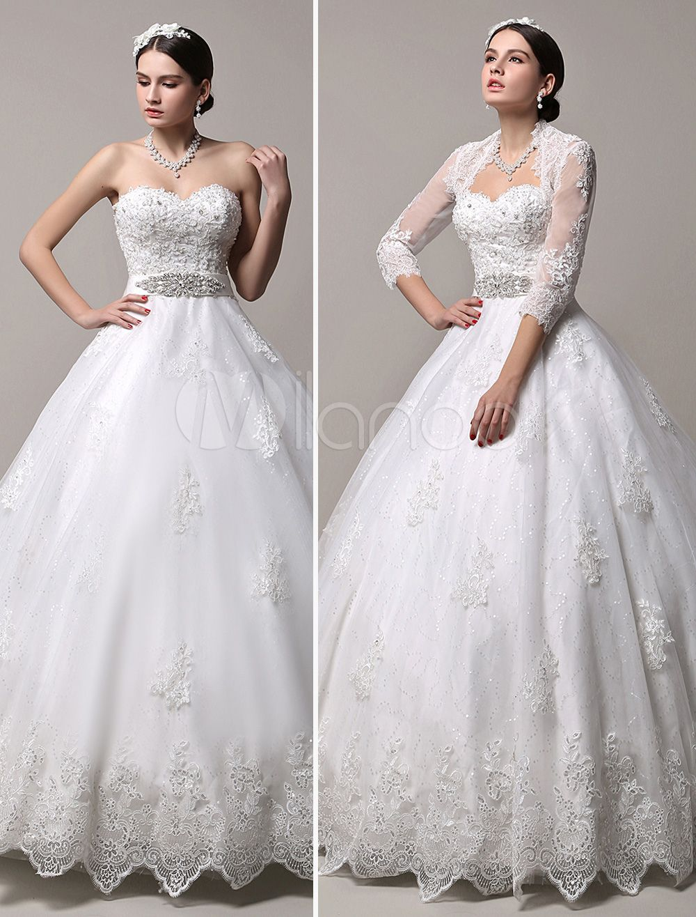 Princess Wedding Dresses Strapless Sweetheart Neckline