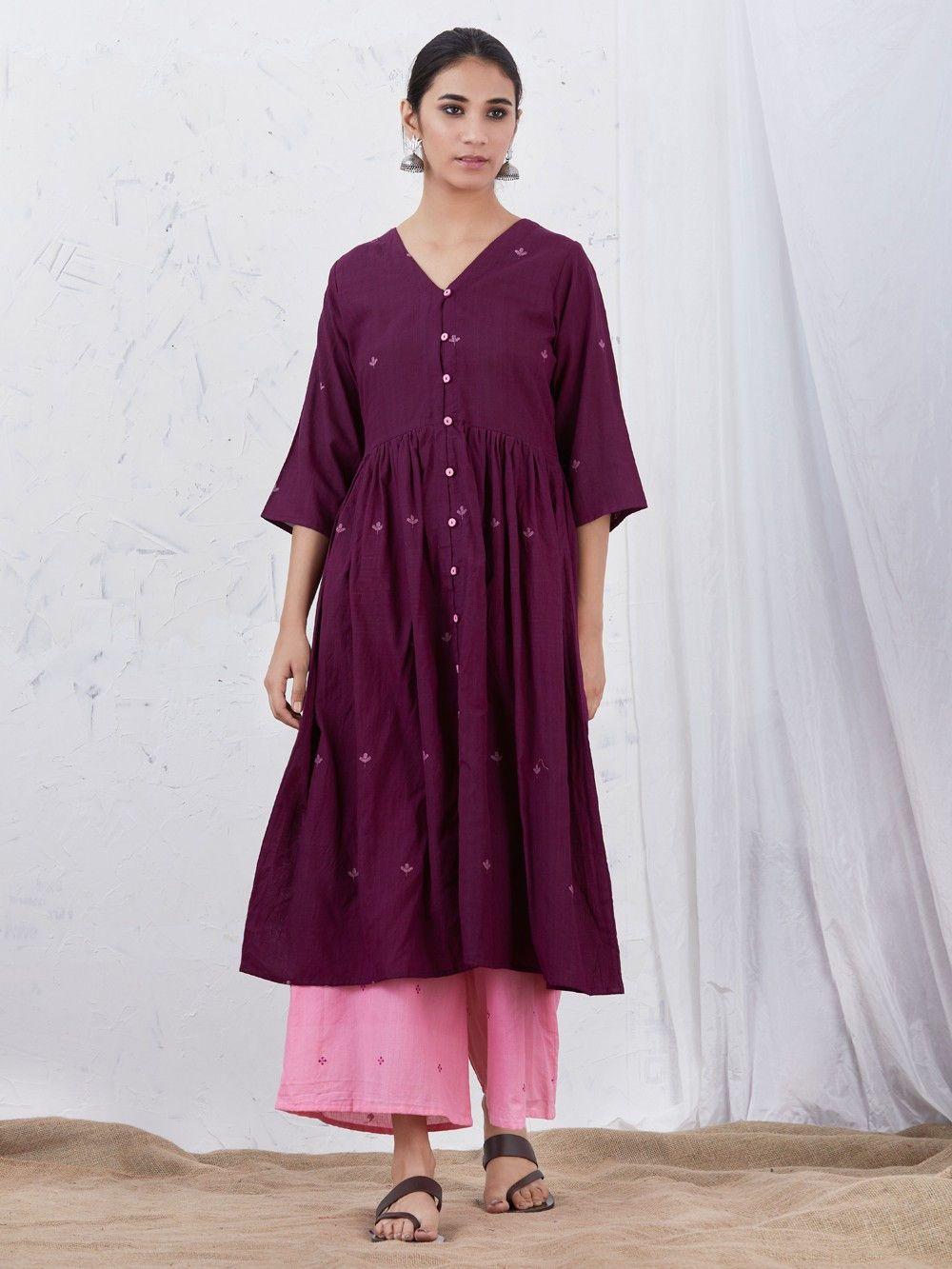 bd3af8c0bd72 Buy Wine Cotton Gathered Kurta online at Theloom Indian Ethnic Wear