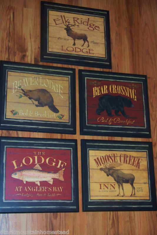 5 rustic signs lodge decor bear elk beaver moose fish country cabin wall plaques - Lodge Decor