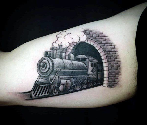 Train tunnel tattoo for men on bicep train tattoos for Crazy train tattoos