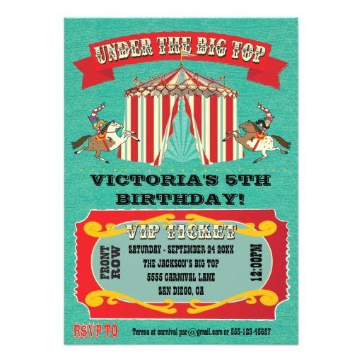 Circus Carnival Birthday Party Invitation  Carnival Birthday