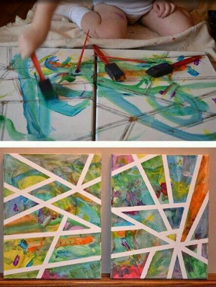 Tape a canvas n have your kids paint then peel love this diy diy wall art solutioingenieria Image collections