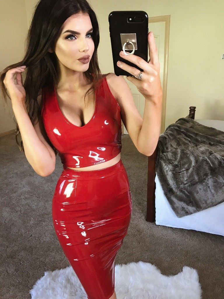 9cd9aa573e Red PVC top and tight pencil skirt