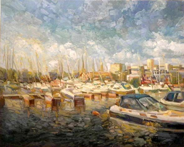 Port and boats  80x100 oil on canvas