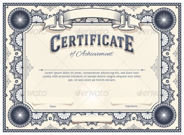 Certificate Template Certificate, Template and Adobe illustrator - free appreciation certificate templates for word