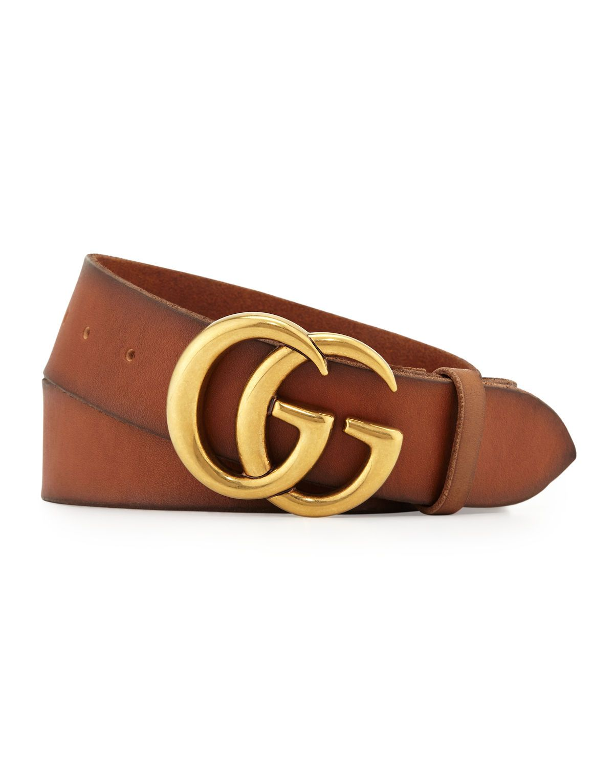 633a567a7 Smooth leather Gucci belt with double-G buckle. Brass hardware. 1.5