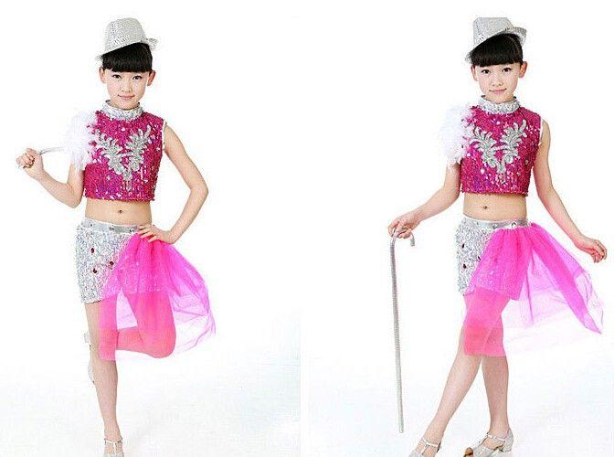 Niños trajes de danza jazz 3 colores A 087 plumas lentejuelas hip hop trajes  de baile d52a11de803