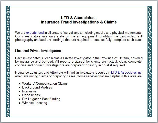 Ltd Associates Insurance Fraud Investigations Claims