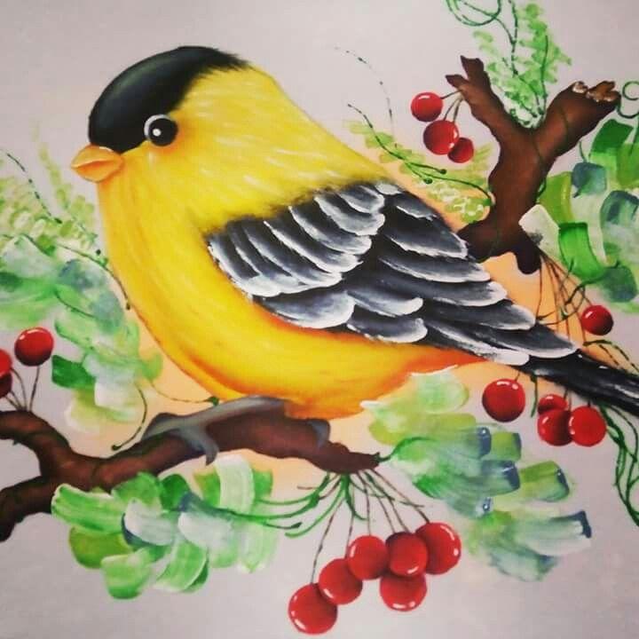 Pingl par patty hart sur handpainted birds pinterest - Peinture decorative sur bois et metal ...