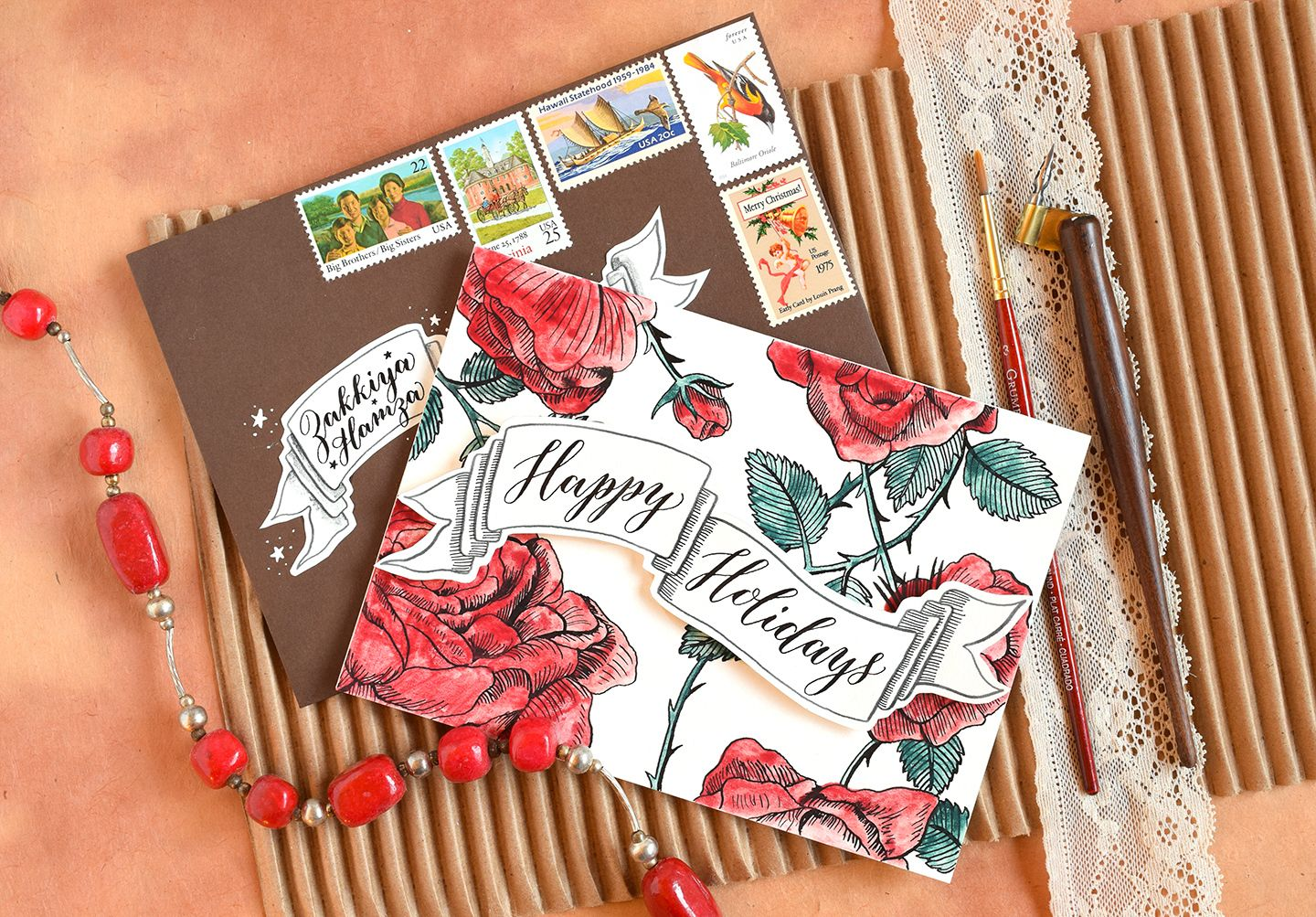 diy holiday card artistic envelope tutorial - Artistic Holiday Cards