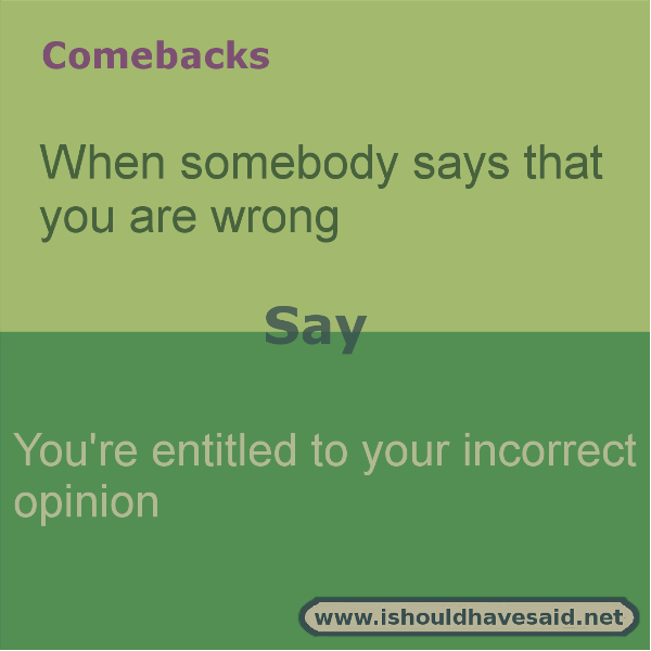 How To Respond When Someone Says That You Re Wrong I Should Have Said Funny Insults And Comebacks Sarcasm Comebacks Funny Comebacks