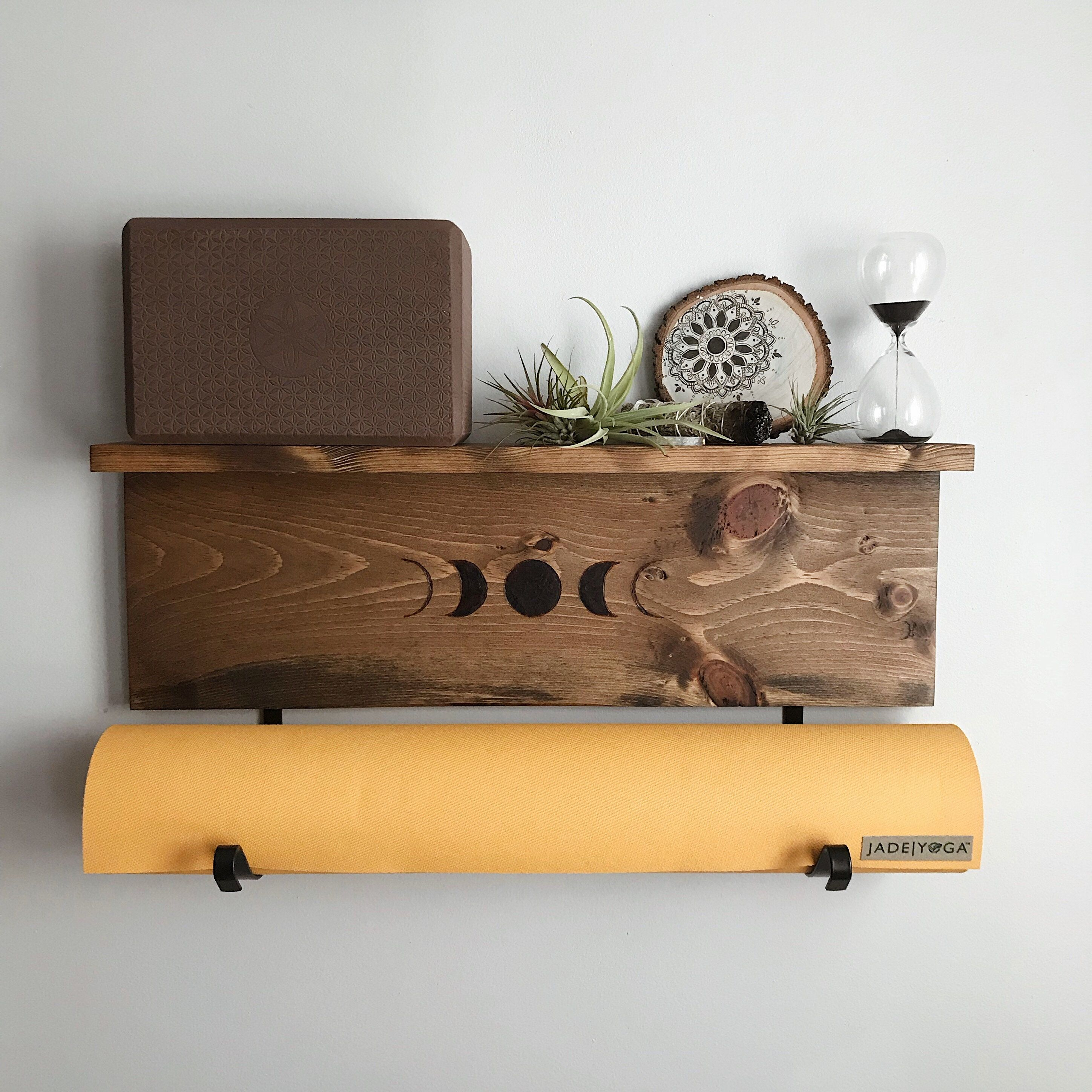 Excited To Share The Latest Addition To Our Etsy Shop Yoga Mat Rack And Shelf With Moon Phase Wood Burn Design One Wood Burn Designs Yoga Mat Holder Decor