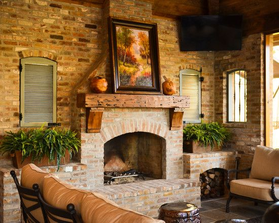 Fireplace fascinating rustic patio with cool brick fireplace ideas also natural wooden mantle - Brick fireplace surrounds ideas ...