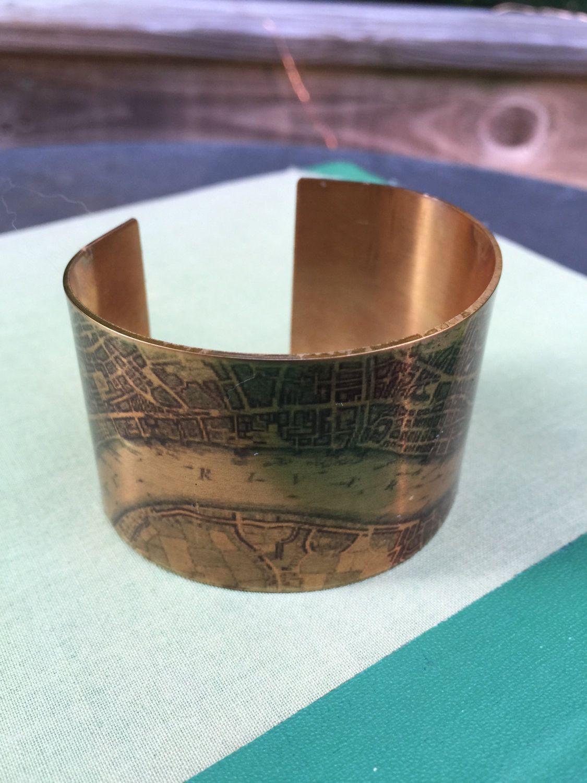 london street map vintage 1780s river thames brass cuff bracelet 1 12 x