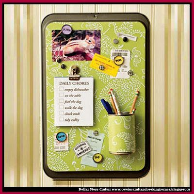 Dollar Store Crafter: Turn A Dollar Store Cookie Sheet Into A Message Board