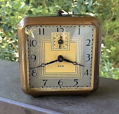 Vintage Ingraham Gem Alarm Clock Deco Styling In Working Condition