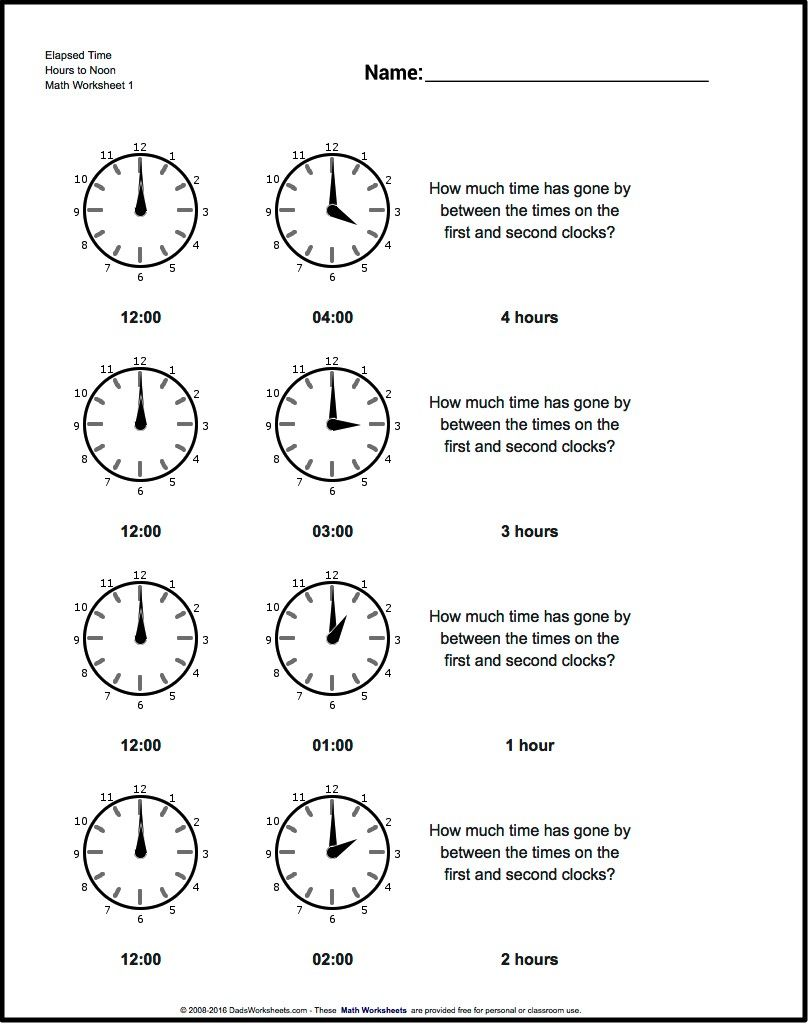 Free math worksheets for Analog Elapsed Time problems with answer ...