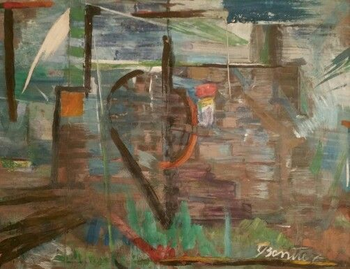 "Isaac Benitez (1927-1968) ""Panamá Viejo"". Panamanian artist. Major figure in abstract expressionism in that country.  My grandfather bought this piece along with a few other ones directly from the artist."