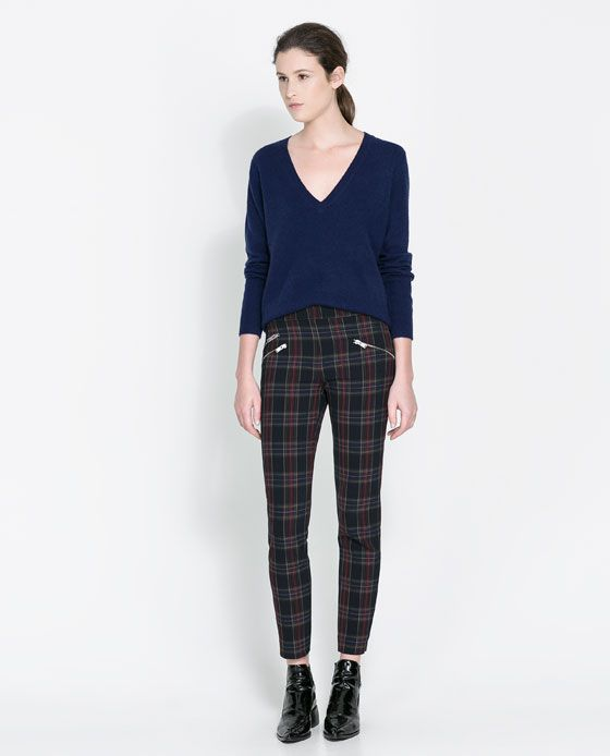 23e5cbcd Image 1 of CHECKERED SKINNY TROUSERS WITH ZIP from Zara | skinny in ...