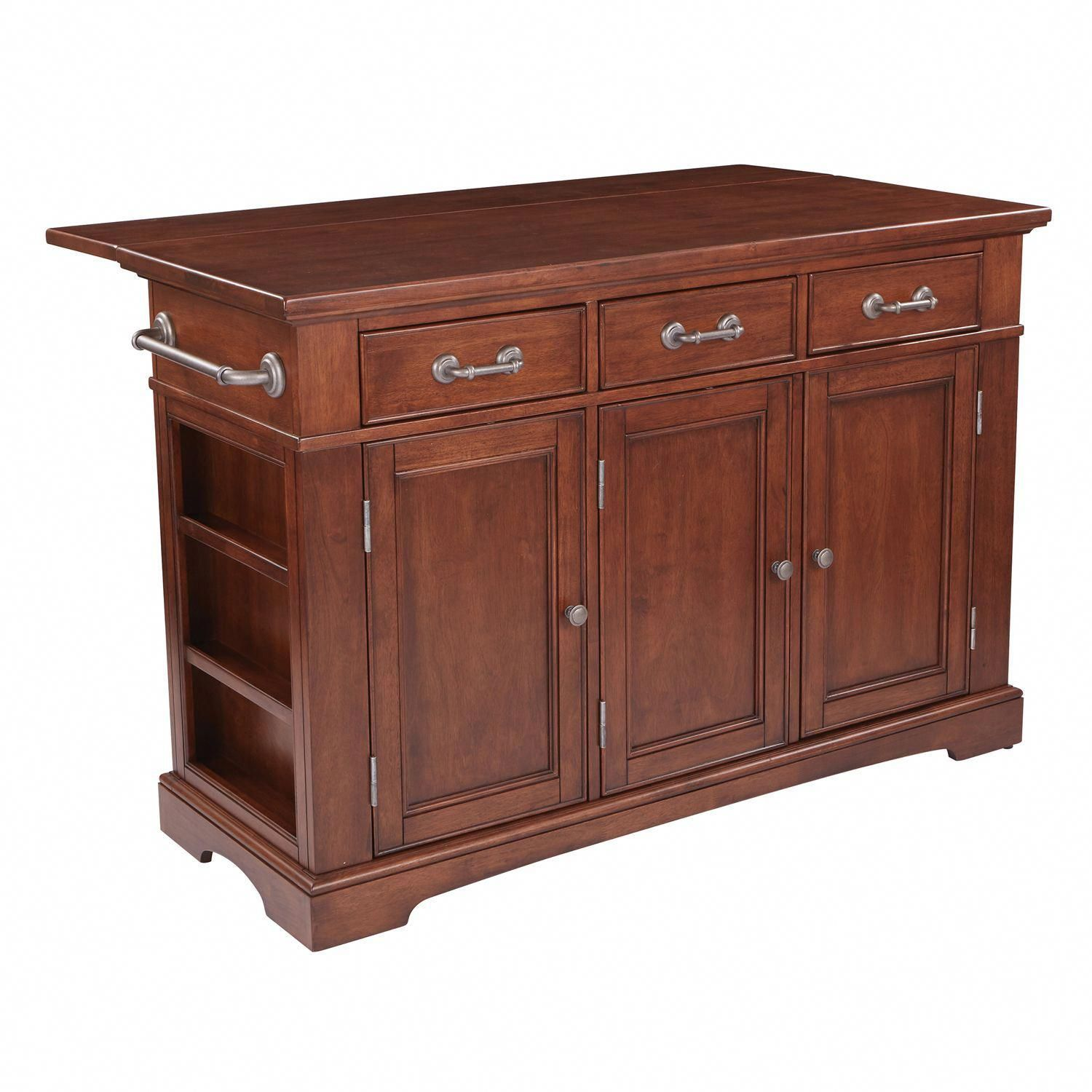 Large country kitchen island in vintage oak finish in