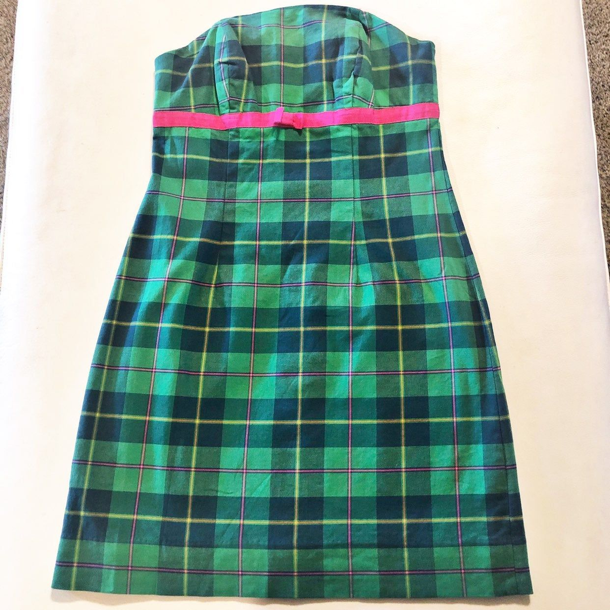 Strapless Green Plaid With Pink Ribbon Detail Empire Waist Bodice Has Boning For A Better Fit 97 Cotton 3 Spandex Fabric Has Plaid Dress Womens Dresses Plaid [ 1242 x 1242 Pixel ]