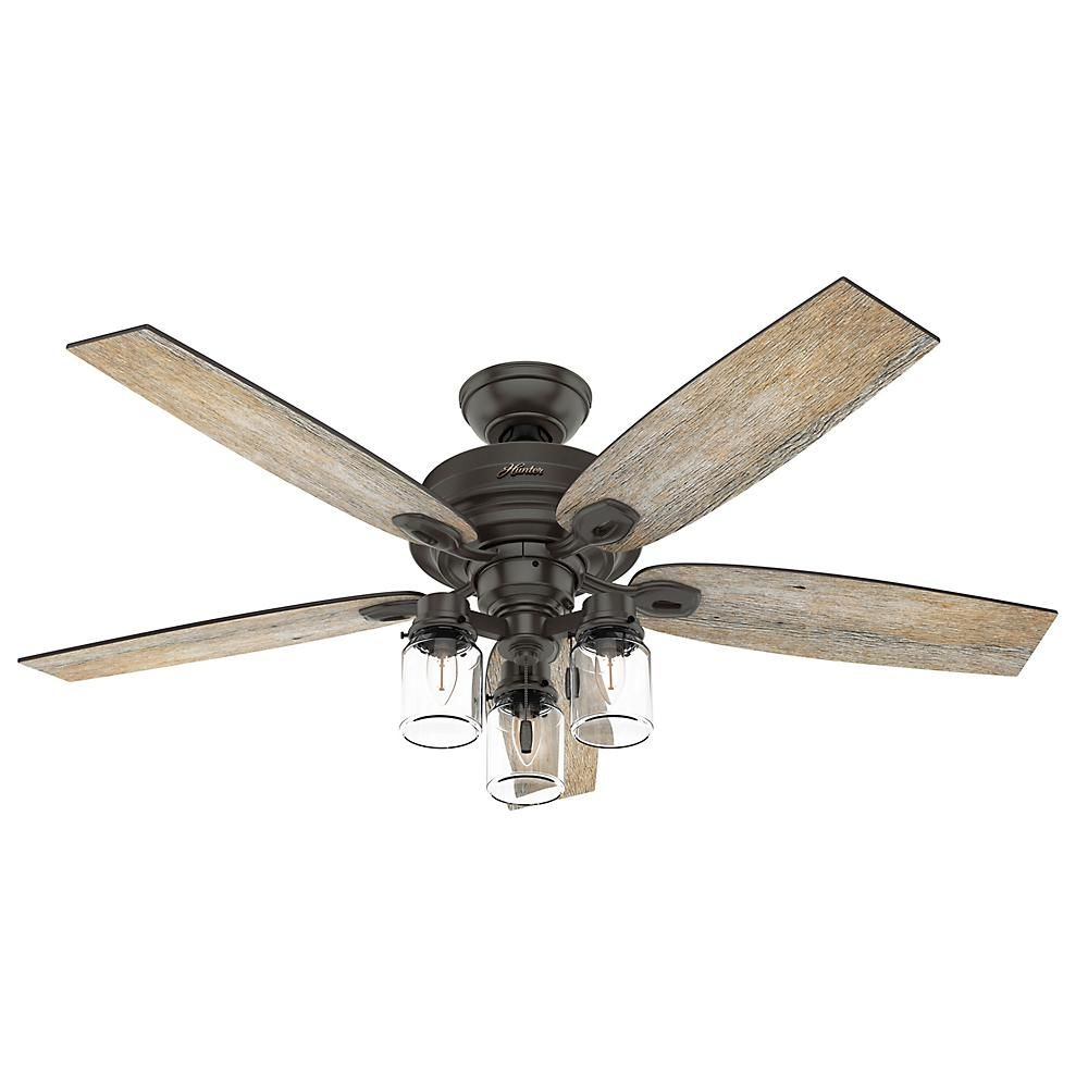 Hunter Crown Canyon Ii 52 In Led Indoor Noble Bronze Ceiling Fan With Light Kit 50427 The Home Depot In 2021 Bronze Ceiling Fan Ceiling Fan With Light Fan Light