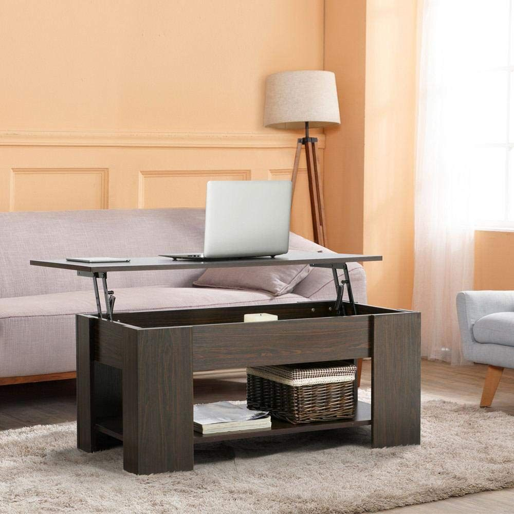 yaheetech adjustable lift top coffee table  with hidden