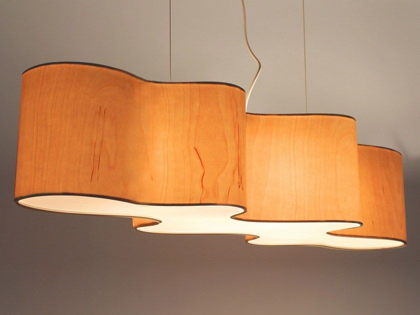 Wood veneer pendant lamp CLOUD MESA By Lampa | Wood veneer