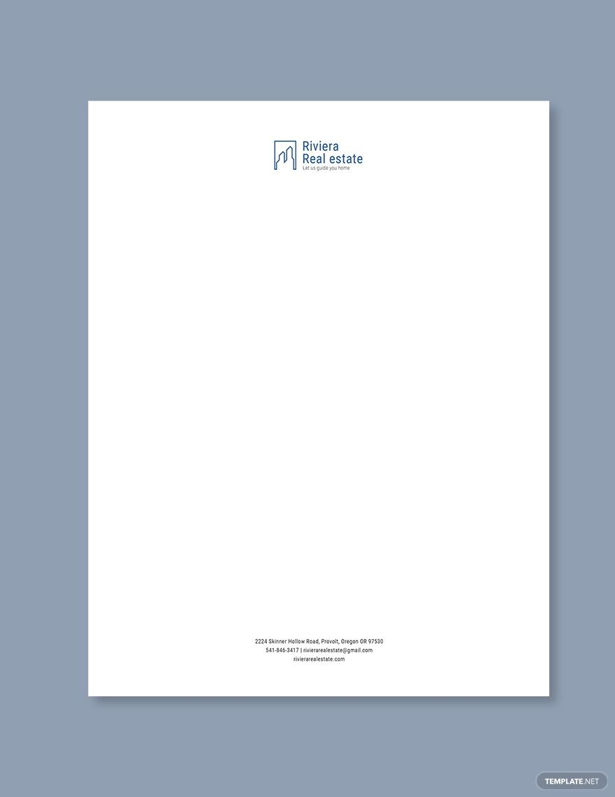 Real Estate Agency Letterhead Template Word Doc Psd Indesign Apple Mac Pages Illustrator Publisher Letterhead Template Word Letterhead Template Letterhead Business