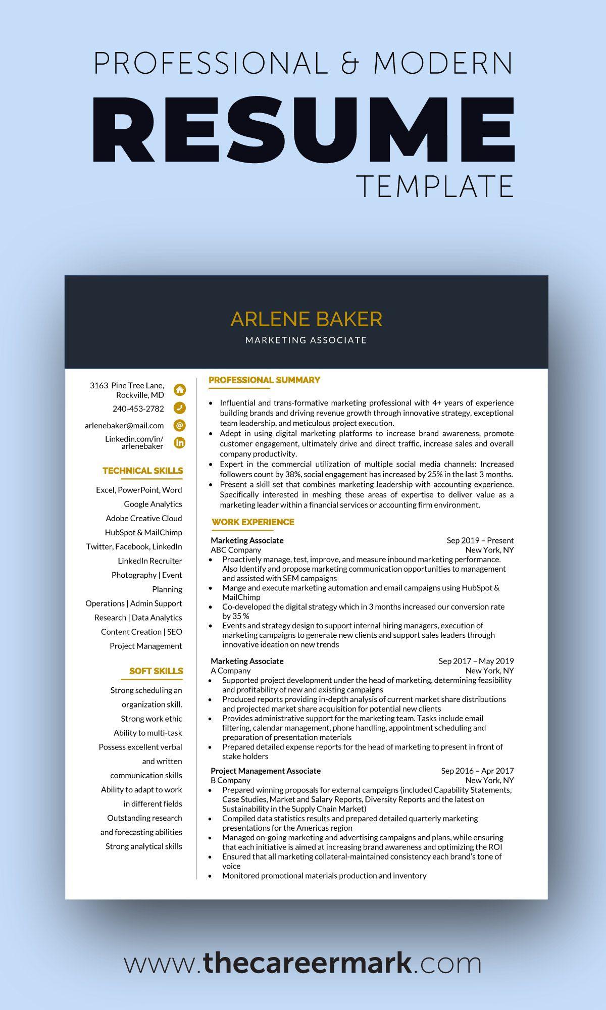 Professional modern resume templates in 2020 modern