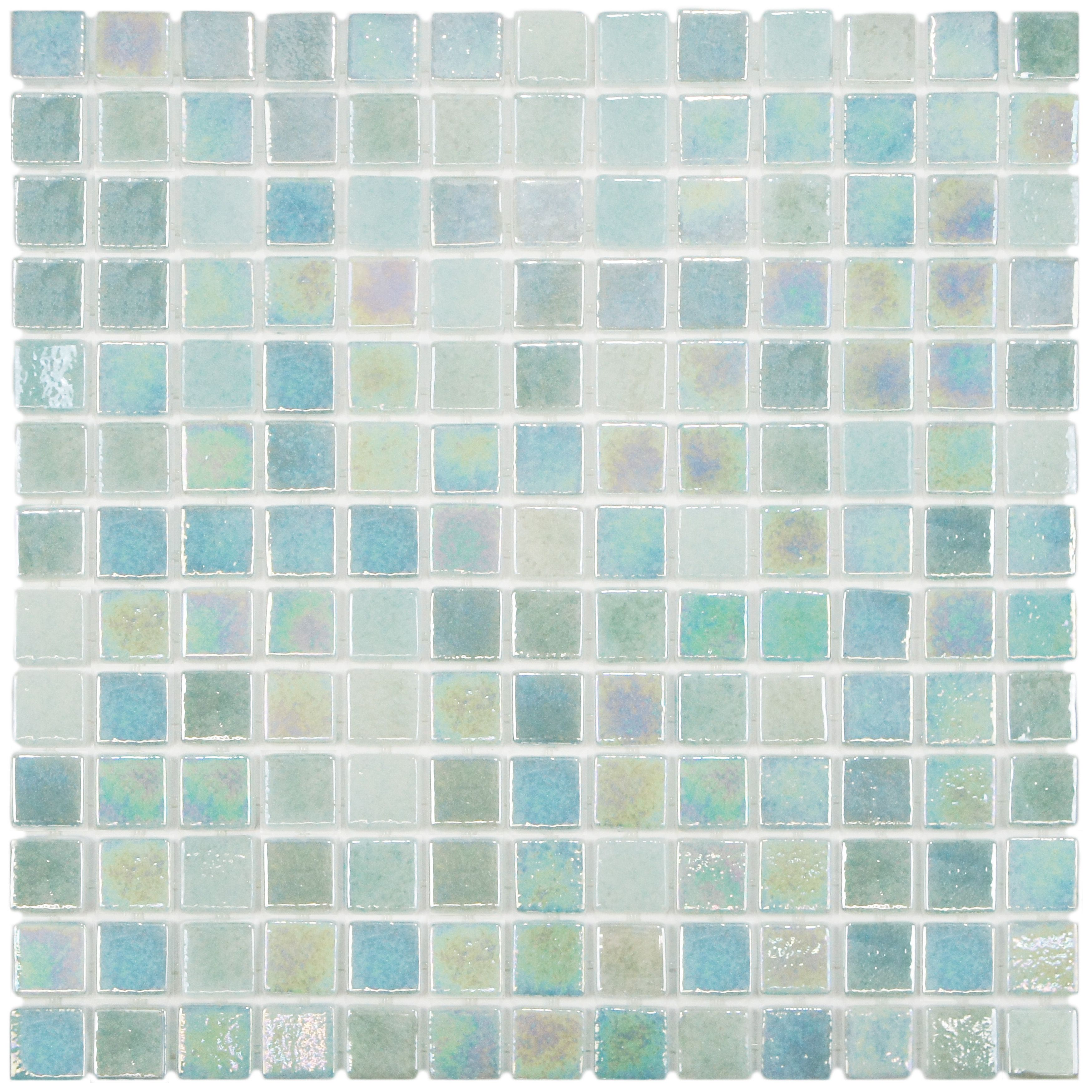 SomerTile 13x13-inch Guadiana Square Agua Mother of Pearl Glass ...