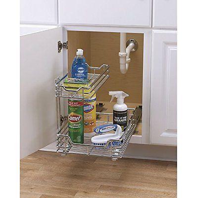 Kitchen Under Sink Storage Basket Cabinet Sliding Drawer Organizer Bathroom  Rack