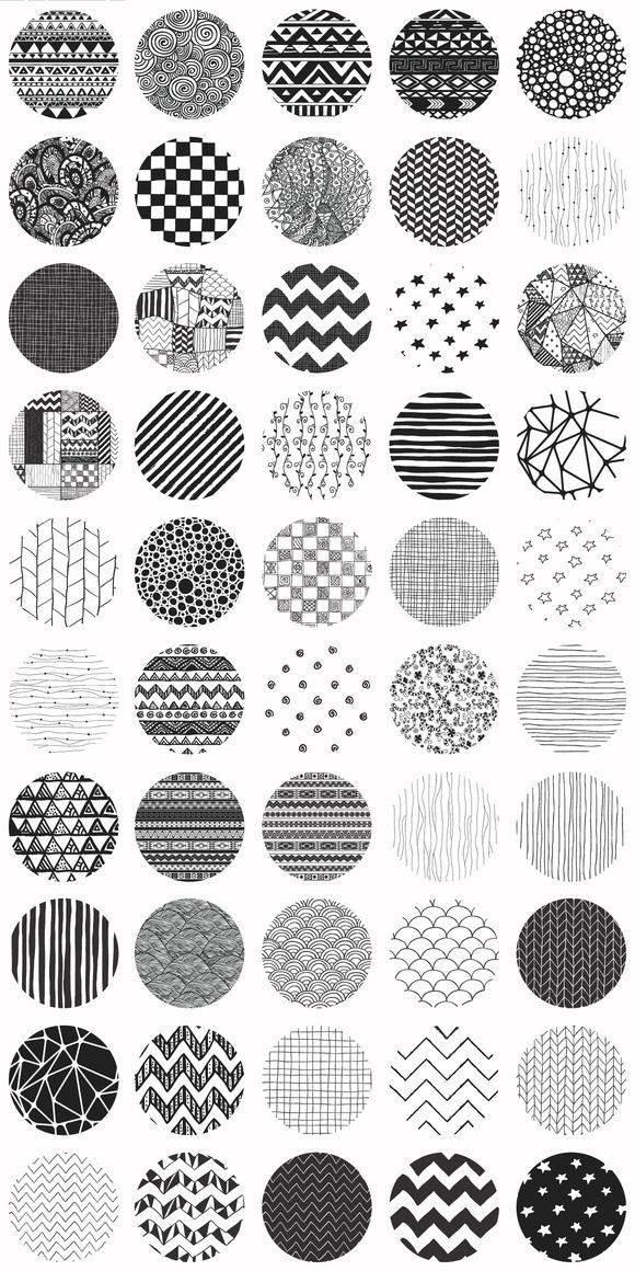 Big Set of Fifty Cute Black Hand-Drawn Doodle Seamless Background Patterns. $7