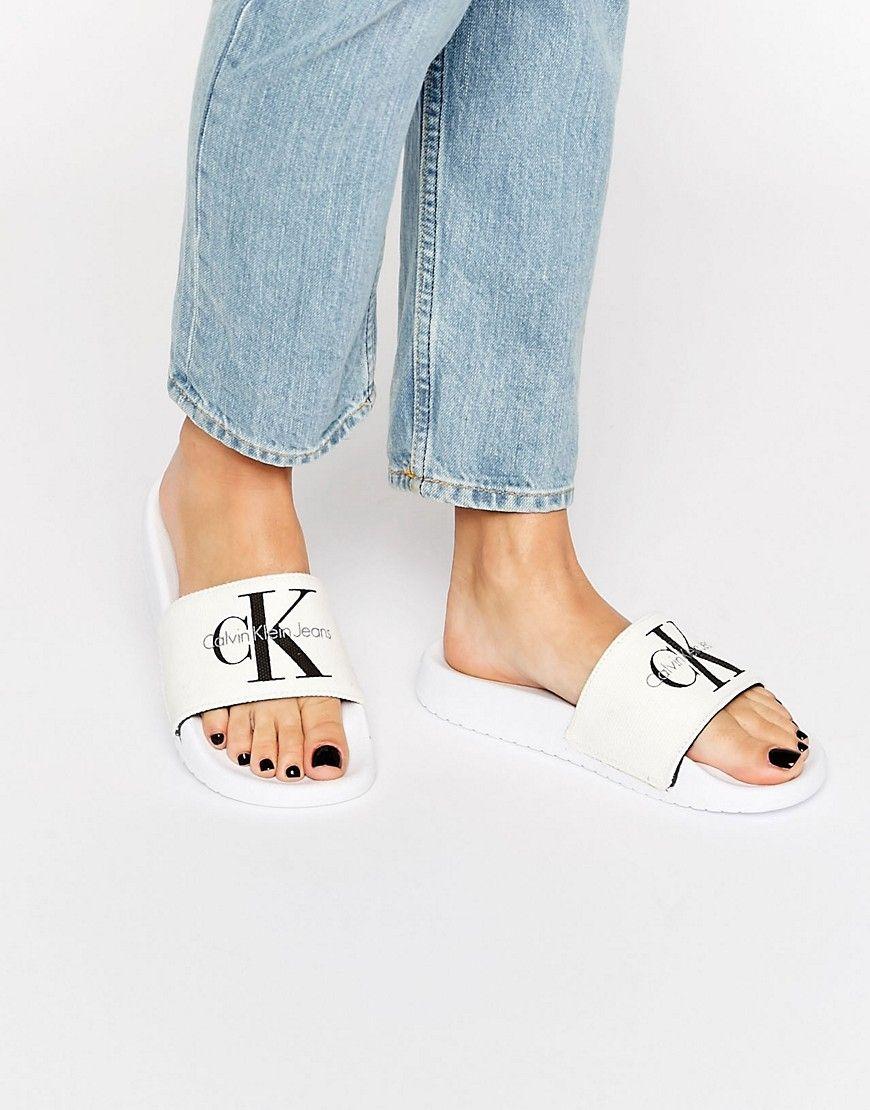 Calvin Klein Jeans Chantal White Slider Flat Sandals