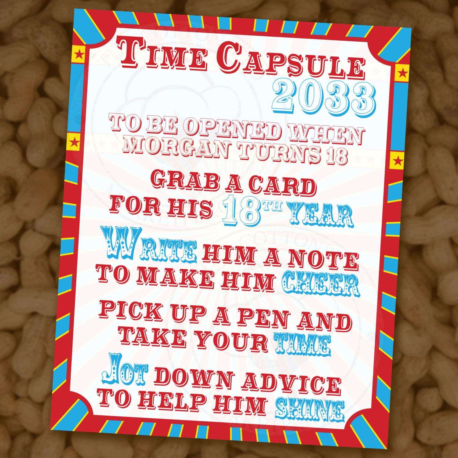 Custom Time Capsule First Birthday or Baby Shower - Circus-themed ...