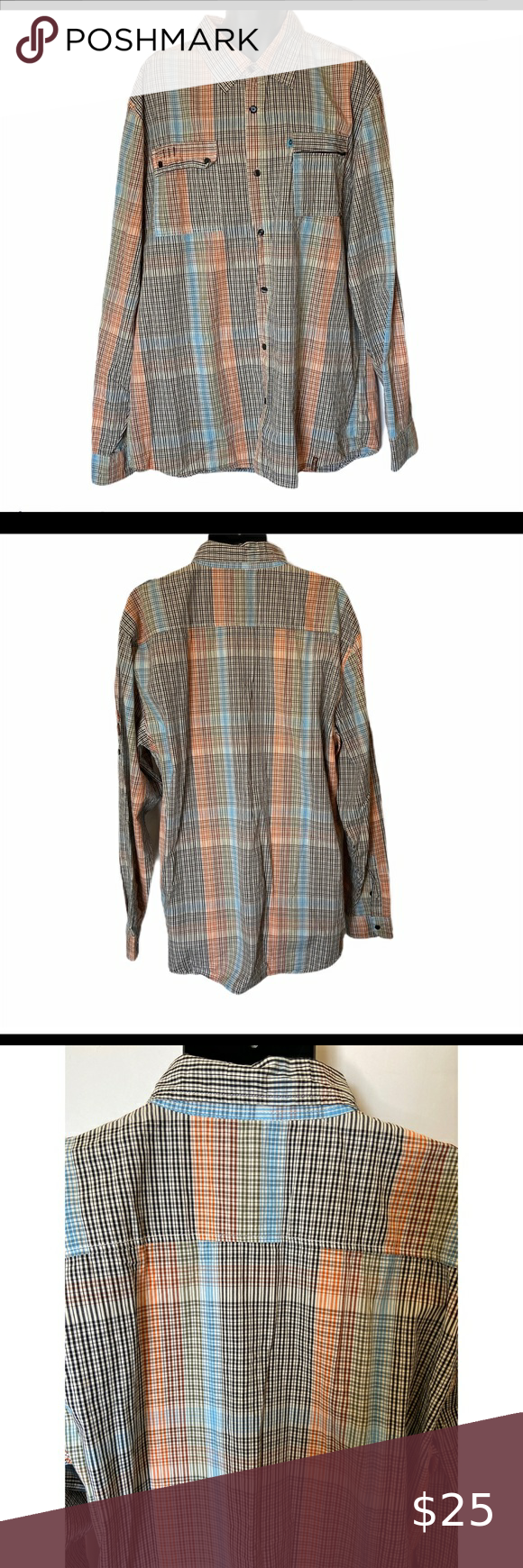 Akademiks Button Shirt Mens 3XL Plaid Long Sleeves Akademiks Button Up Shirt Mens 3XL Plaid Long Sleeves  Akdmks Knowledge Is Key 100% Cotton / Multi-Color Plaid Turn inside out and wash cold, tumble dry 2 Front Pockets / Left has zipper / Right buttons Across front 24 inches Length 34 inch Sleeves 29 inch Akademiks Shirts Casual Button Down Shirts