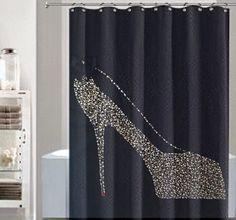 Black Shower Curtain Gold Rhinestone Shower By Lnikkolehome
