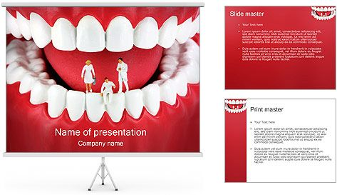 teeth with miniature dentists powerpoint template | fondo 1, Modern powerpoint