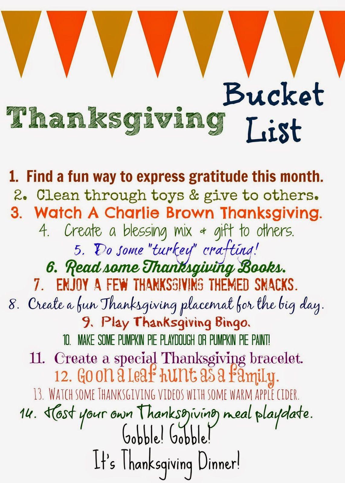 Thanksgiving Bucket List (Free Printable Thanksgiving