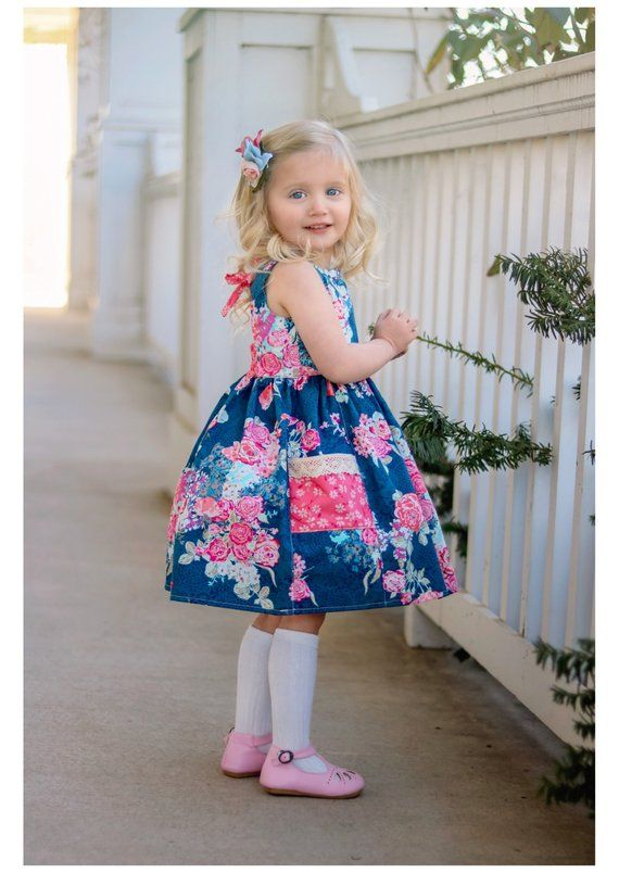 424a1c6c6 Navy Floral June Dress with Pockets - Girls Spring Dress - Girls ...