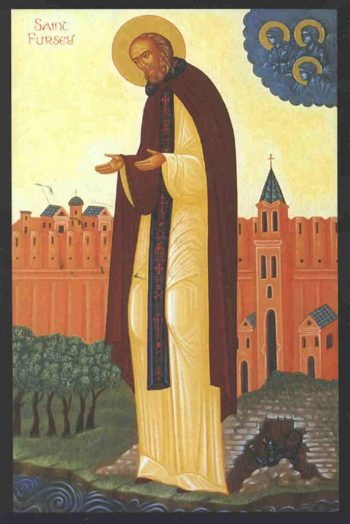 St Fursey- Feast day 16 jan, Patron of the Parish of Headford. His great sanctity was early discerned, he was an ascetic, wearing thin clothing year around.St Bede&others wrote about St Fursey intense ecstasies&visions. He founded a monastery,&made miracles during his journey.In France in 648, the only son of Duke Hayson was dead.At the prayer of St Fursey the body was restored.