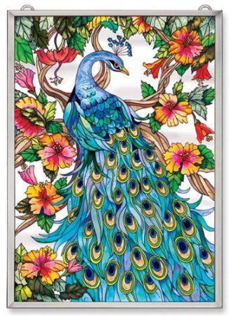 Amia Window Decor Panel Featuring A Peacock Design Hand Painted Glass 11 Inch By